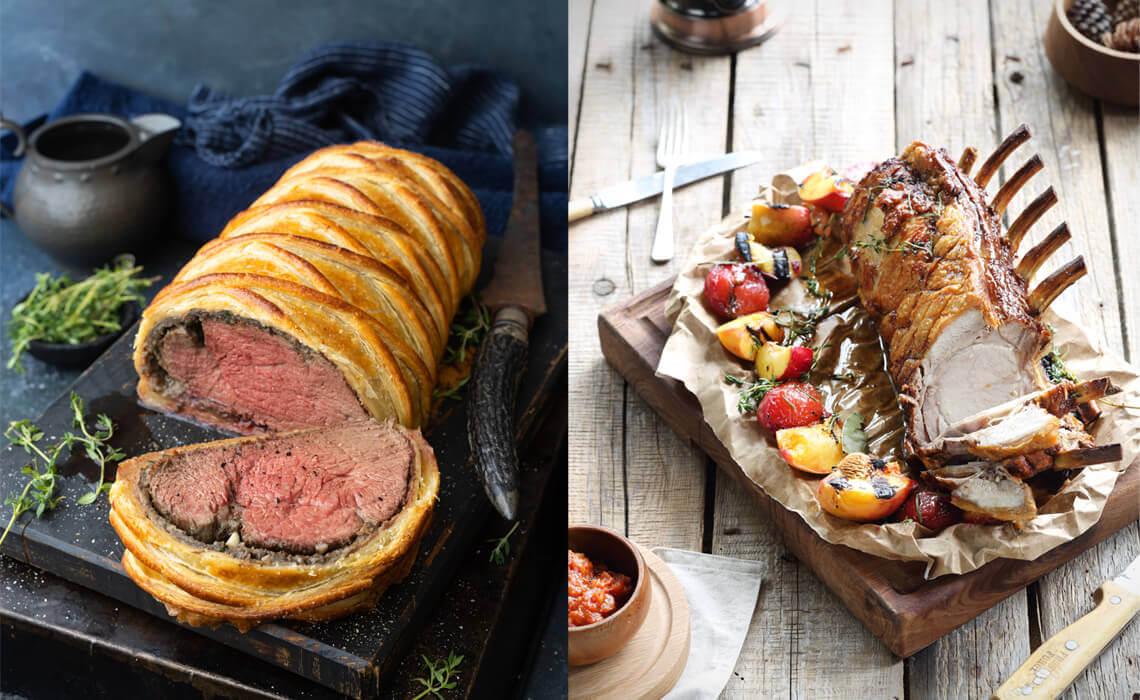 Left: Beef Wellington Right: Crown Roast Pork