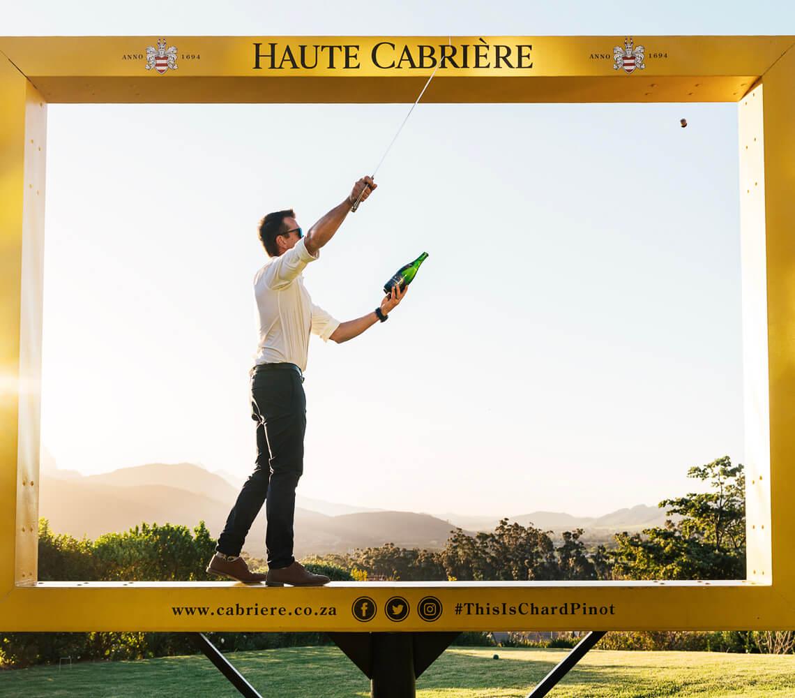 Sabrage at Haute Cabriére